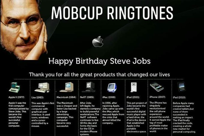 Happy Birthday to the man who changed the world, Steve Jobs was born on 24 Feb 1955.