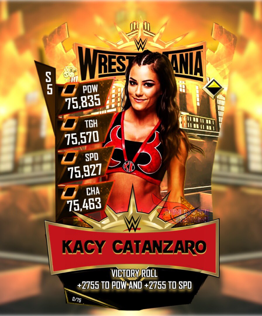 New customized WM35 card and it's The Mighty @KacyCatanzaro because since she made a appearance in the Royal Rumble and looked phenomenal in it I don't see why she wouldn't be at Wrestlemania 35 I mean she's a ninja come on! #WWESuperCard  Render by @WWESirriam<br>http://pic.twitter.com/NlqmWJnwUf