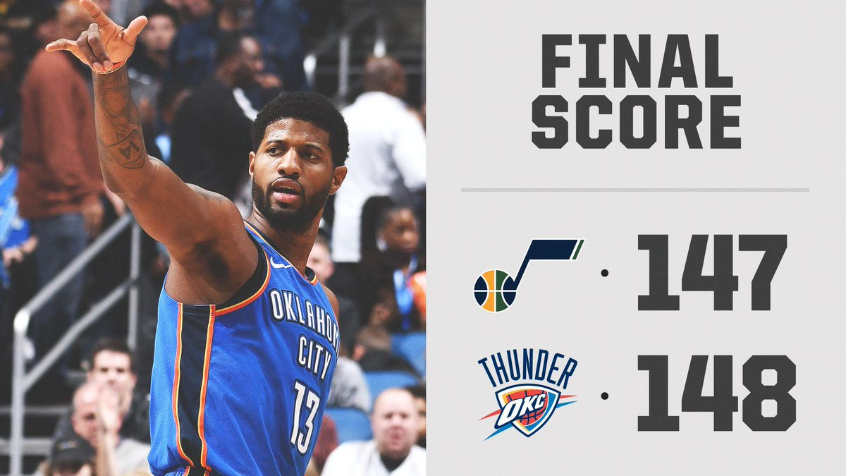 PG with 45 pts and the game winner in OKC's double OT win 😤