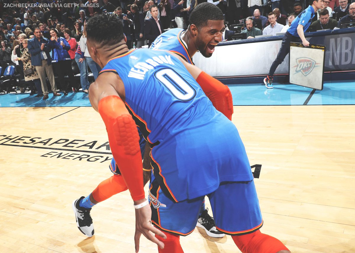 Russ and PG are the first set of teammates to post 40-5-5 in the same game since 1983.