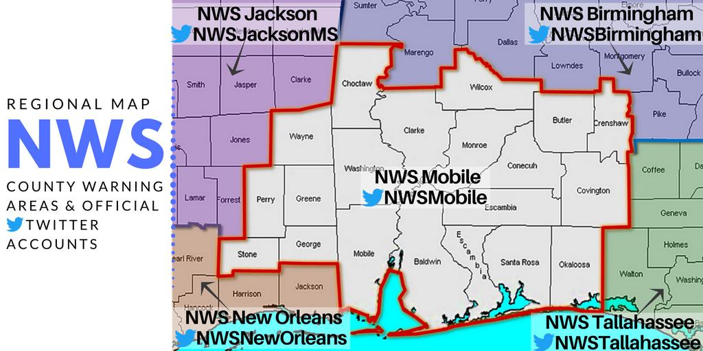 🌪⛈ With severe weather possible across the region today & tonight, make sure you are following the correct NWS office for your area.  💻Find your local office here: https://t.co/7xJEDkStx4  #mobwx