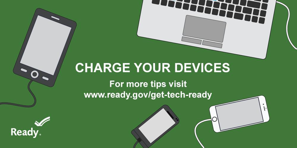 Storm Safety Tip→ Charge your phone📱 and/or laptop💻. Ensure your weather radio 📻 has fresh batteries🔋. You NEED a way to receive warnings when/if the power goes out during severe weather or during a hurricane!  #BePreparedNotScared