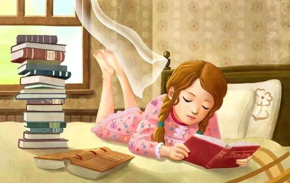 Картинка детская девочка читает книгу
