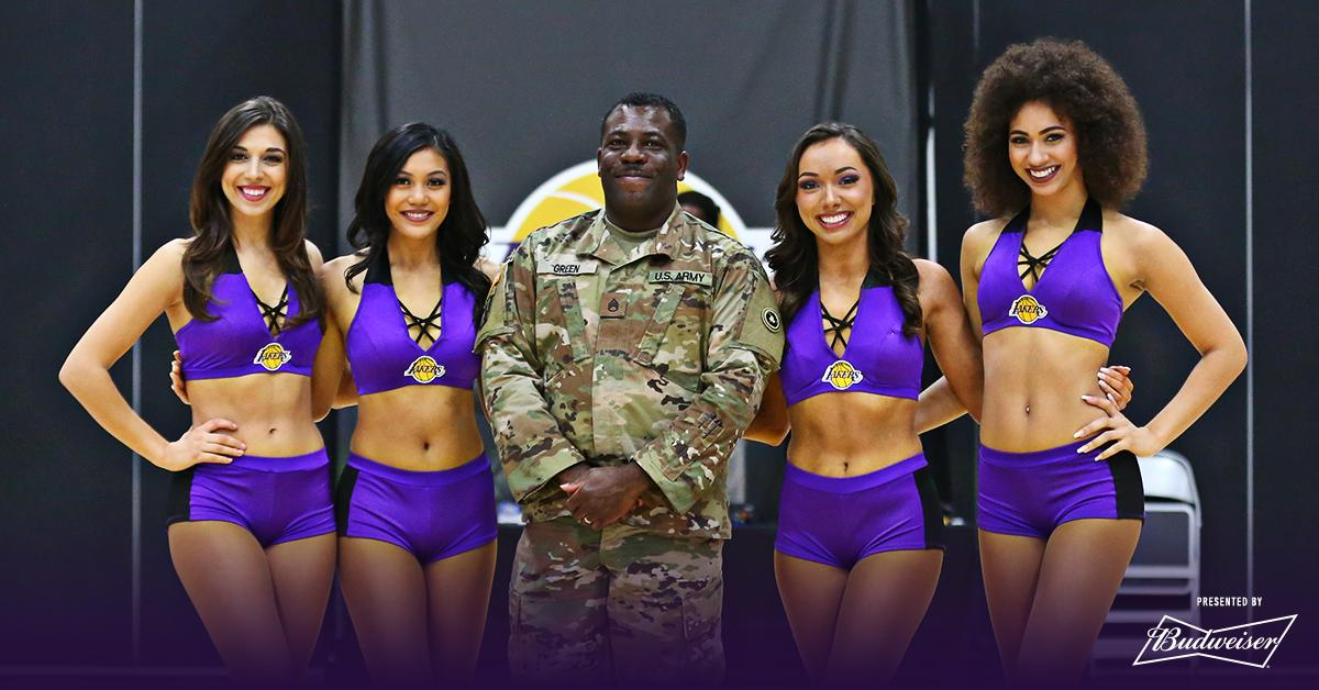 US Army SSG Demone Green was honored at center-court of tonight's game as part of South Bay Lakers Military Appreciation, presented by @BudweiserUSA. #SBLakers
