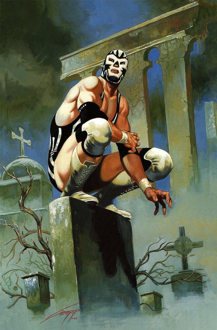 #art #lucha #wrestling #artwork #showcase   Some more fantastical lucha paintings.  Once again by Raphael Gallur. <br>http://pic.twitter.com/vMisRWBosv