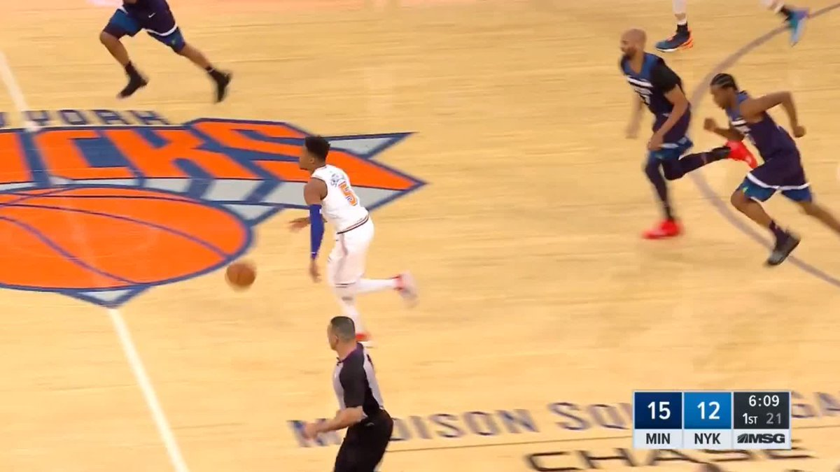 🔥 One highlight from an otherwise miserable night for the #Knicks - @Dennis1SmithJr throws down a vicious dunk against the T-Wolves #nba #NewYorkForever