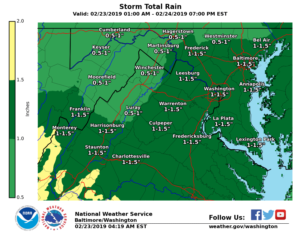 Rain is expected this afternoon into Sun morning as a surface front draped across the Southeast &amp; northeast FL begins to lift north tonight. Generally between 0.5 to 1.5 inches of rain are expected with the highest amounts along the I-64 corridor in central VA. #DCwx #MDwx #VAwx<br>http://pic.twitter.com/sbA3SIAJ4k