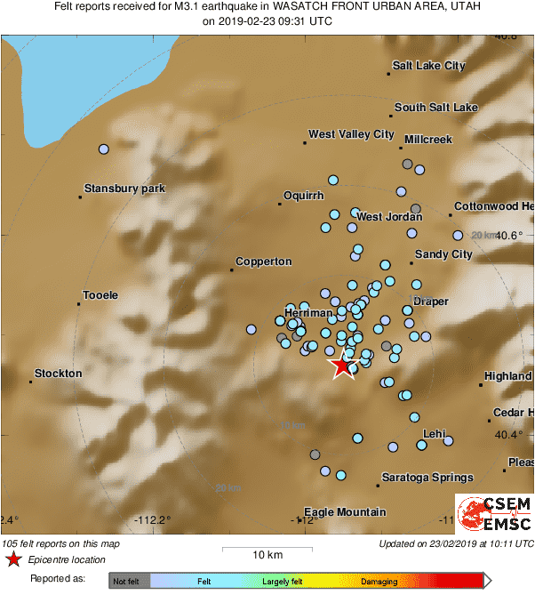 Map of the testimonies received so far following the #earthquake M3.1 in Wasatch Front Urban Area, Utah 41 min ago
