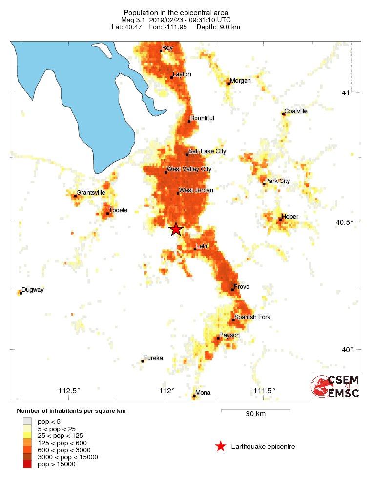Estimated population in the felt area: 320,000 inhabitants