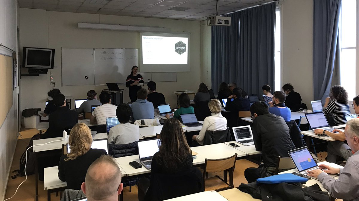 Crowded workshops  &quot;Introduction to the tidyverse&quot; by @SuzanBaert &quot;Spatial data and cartography&quot; by @antuki13, Etienne Côme and Thimothee Giraud  #satRdayParis<br>http://pic.twitter.com/3niBqorMTF