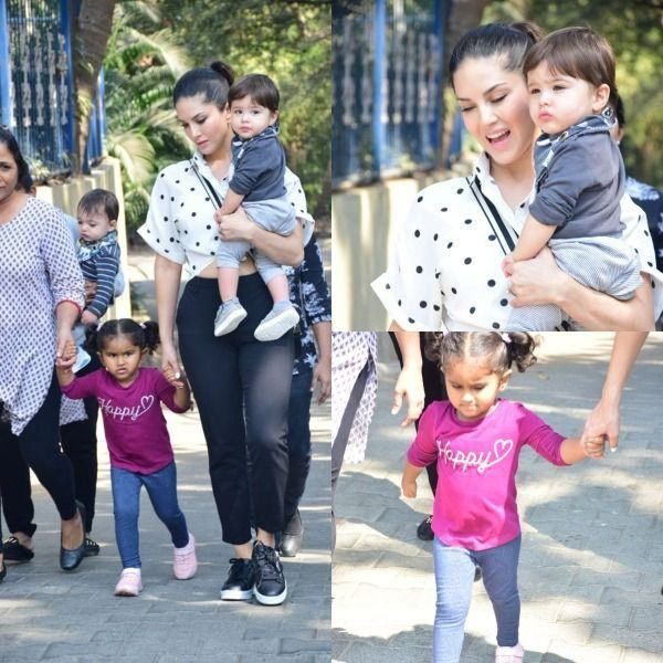 Sunny Leone steps out with kiddos Nisha, Noah, Asher and their expressions will make your Saturday better! - view pics