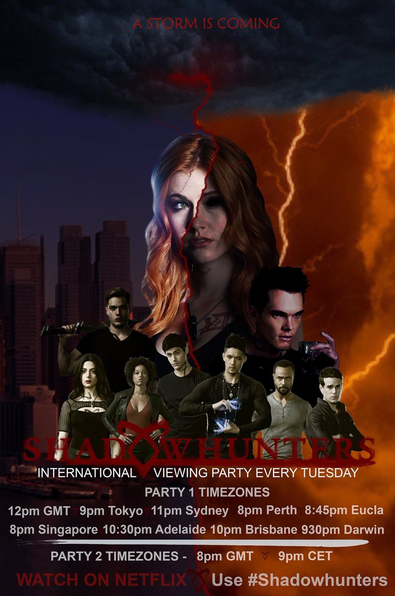 INTERNATIONAL VIEWING PARTY   EVERY TUESDAY  TIMES LISTED IN THE POSTER BELOW  Join us if you can &amp; let's make some noise ShadowFam!   Biggest shoutout to @ShanLucifan for the AMAZING POSTER!   #Shadowhunters  #SaveShadowhunters<br>http://pic.twitter.com/Q5fuD21tFg