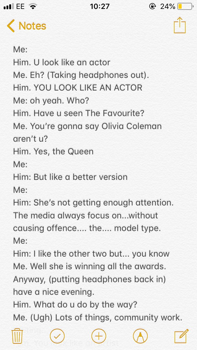 Random man on tube trying to chat me up with one of the more off kilter lines I've had in a while - a verbatim script....