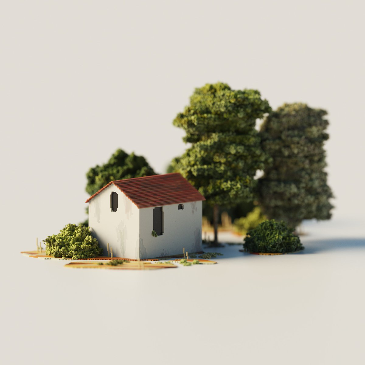 a little building :) had to take a 2 week break because of school but now was finally able to create something again  Made with #MagicaVoxel  Estimated time it took: 5-6 hrs  #voxel #voxels #voxelart #3d #render #3drender #magicavoxel<br>http://pic.twitter.com/L0NCPP2sC1