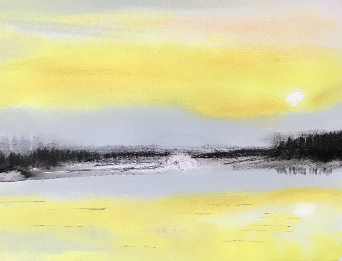 Lemon Sky .. View of fabulous light over the Thames couldn't resist..#contemporaryartist #contemporarypainting<br>http://pic.twitter.com/NW9d3ZFr8i