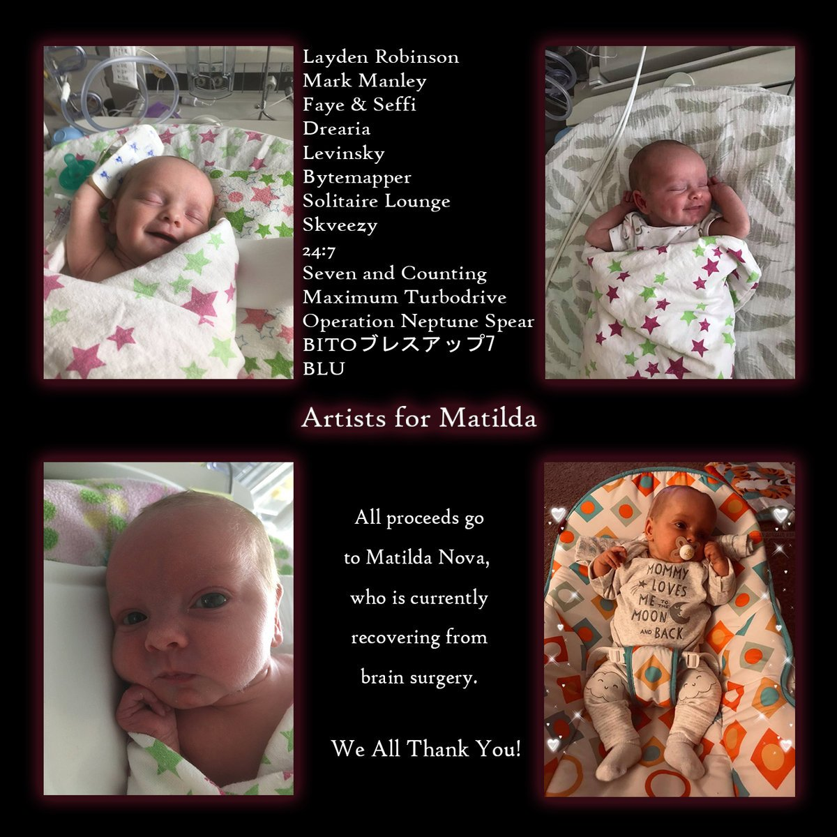 25% of the way towards the goal of 200 downloads of the #music compilation for my daughter, #Matilda recovering from brain surgery. Please support by purchasing a copy of these wonderful #songs for an amazing cause by clicking here. https://laydenrobinson.bandcamp.com/album/artists-for-matilda…  #SaturdayMorning