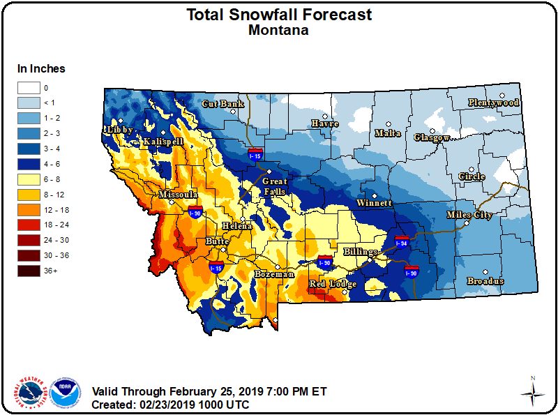 Snow will be piling up over portions of central and SW MT through early next weak as a series of moist Pacific weather disturbances bring periods of accumulating snowfall to the region.  #mtwx