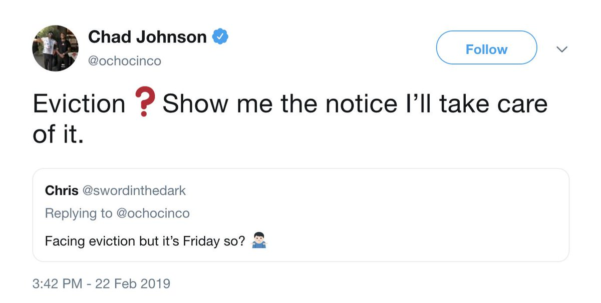 Ochocinco helped out a fan who was facing eviction. Real one 🙏