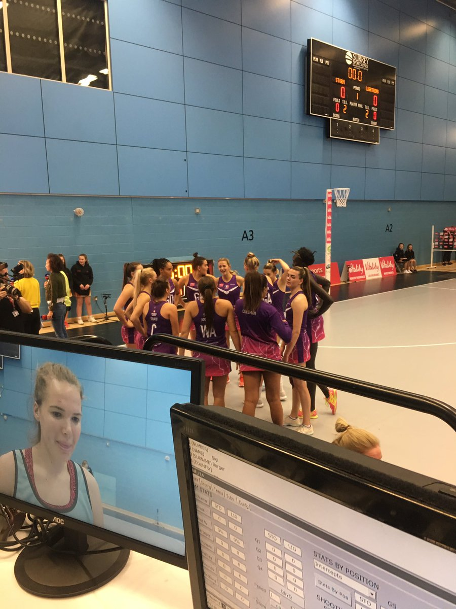 Last minutes words.... @LboroLightning ready.... here in Guildford to take on @SurreyStorm ... @SkyNetball now...