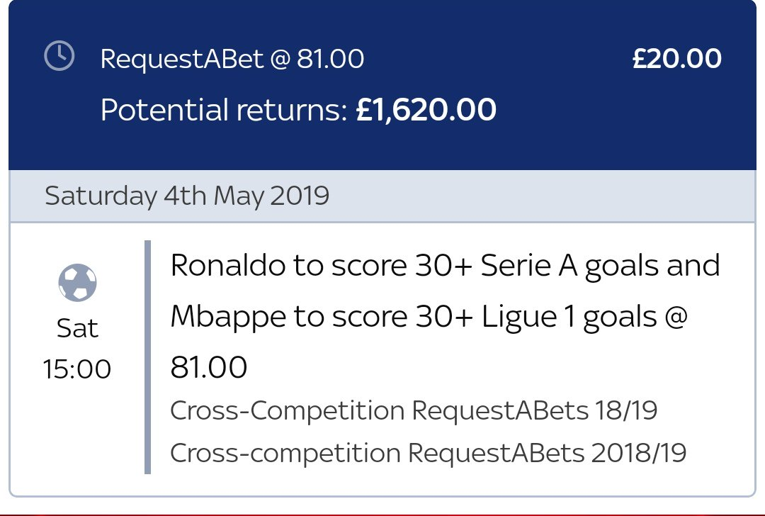 2 more goals for Mbappe today means he's sat on 22 goals with 13 games left...   Ronaldo has 19 with 14 games left   ROOT FOR ME PEOPLE 🔥