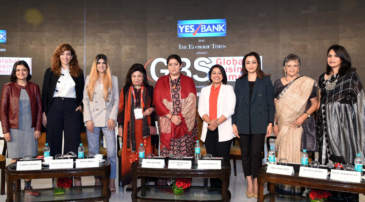 """Union Minister for Textiles, Smt. @smritiirani at a panel discussion on Women Leadership - """"Create, Nurture and Transform: The 'Better' Half"""", at the Economic Times #GlobalBusinessSummit - 2019, in New Delhi."""