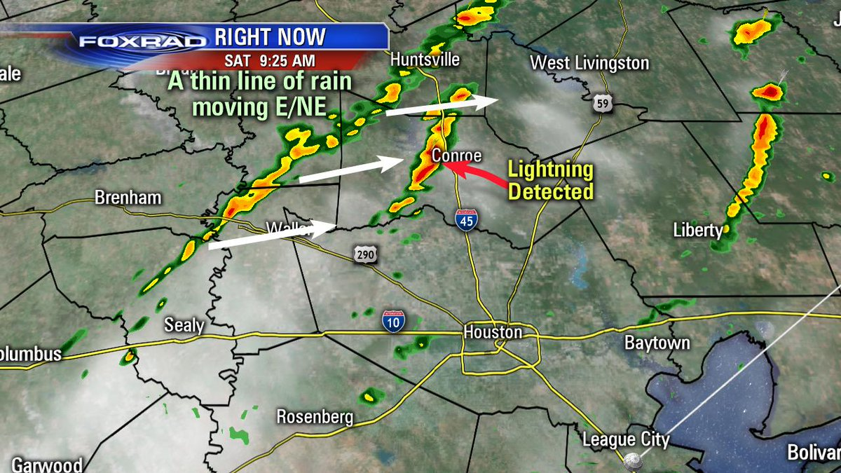 Watching a thin line of heavy rain moving east/northeast (all north of Houston). There is a stray storm, where lightning is being detected, just to the west of Conroe also moving east/northeast. #houwx #TXwx