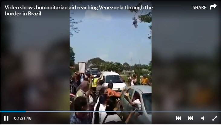 The first trucks with humanitarian aid are on their way to #Venezuela https://hrld.us/2Xm3sbk