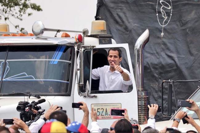President Guaido is personally leading the effort to bring aid to Venezuelan people. The military has a chance to protect and assist the people of Venezuela, not Maduro and a band of thieves. Choose the road of democracy.