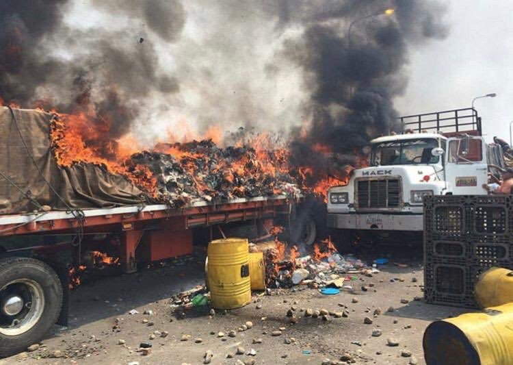 Horrible. Destruction of much needed food and medicine — #Maduro should be ashamed