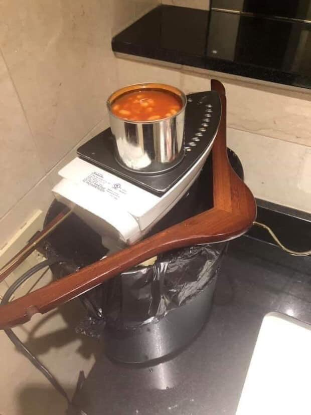 Sapper ingenuity, for when your hotel doesn't do breakfast. Improvise &amp; overcome! #NeverGiveUp #WorkTheProblem @thinkdefence <br>http://pic.twitter.com/jOQI8Q7GDp