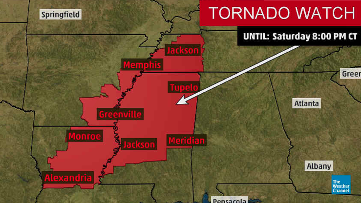 NEW: A tornado watch has been issued for parts of Mississippi, Arkansas, Tennessee and Louisiana through 8 pm CT. Several strong tornadoes, wind gusts up to 75 mph and large hail are possible.