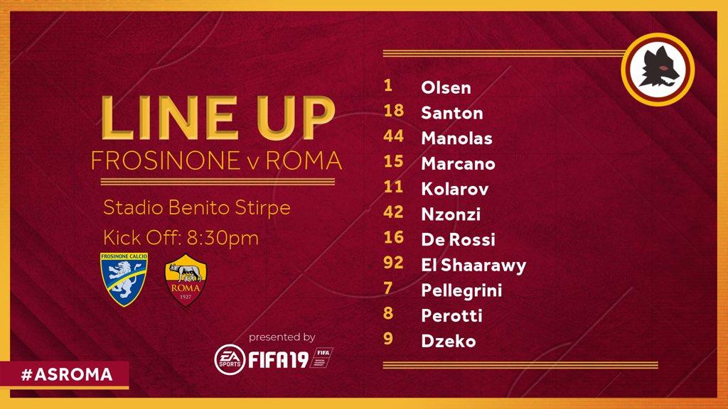 📋 Ecco la nostra formazione per #FrosinoneRoma 🐺  💪 Daje Roma!  #ASRoma