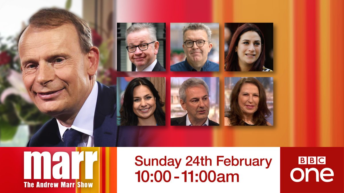 Busy #marr in the morning  Environment Secretary @michaelgove  Labour Deputy Leader @tom_watson  @TheIndGroup MPs @heidiallen75 & @lucianaberger  Plus all the Sunday news w/ @Kevin_Maguire & Amanda Platell  Don't miss it. BBC One, 10am.