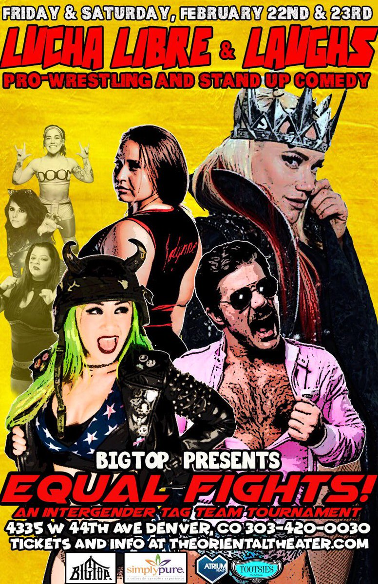 Tonight! Night two of Equal Fights at the Oriental theater! Featuring @JordynneGrace @BlakXicanThunda @delilah_doom @Razerpops @hailrogers89 @DawgFilt @JoeyRyanOnline and more! Get tickets before they're gone, and let's party! http://Theorientaltheater.com