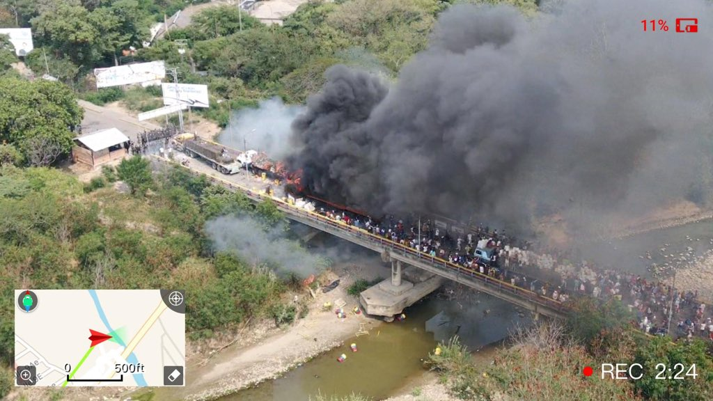 Second humanitarian aid truck is now on fire as well. The truck has exploded. #Venezuela