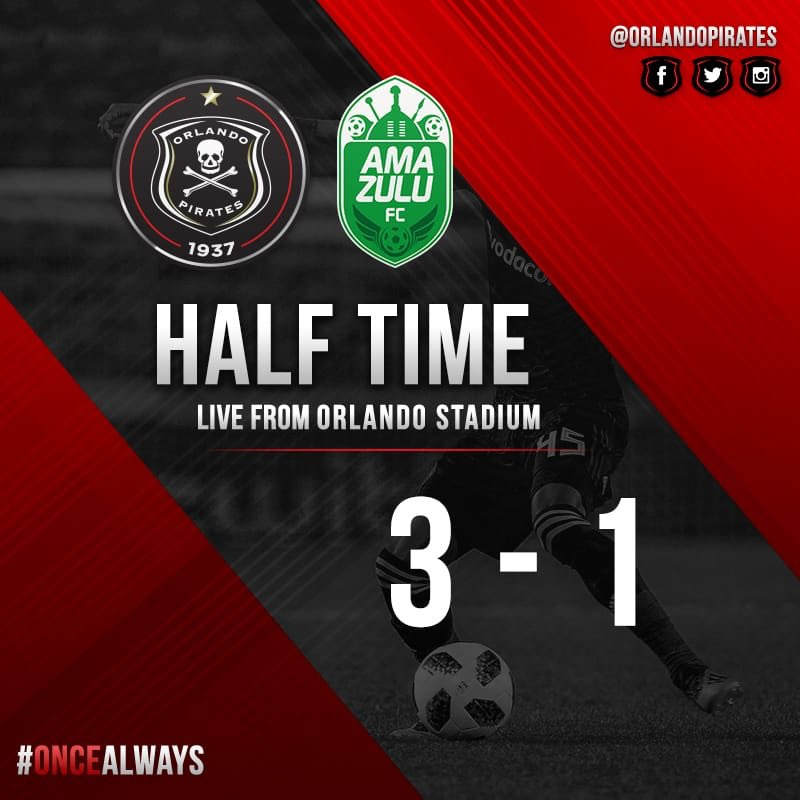 ⚫️⚪️🔴⭐️ HT || @Orlando_Pirates 3-1@AmaZuluFootball . 🥅 Mahachi 20' 🥅 Memela 43' 🥅 Shonga 45' They've been ruthless, they've been marauding, they've made Usuthu walk the plank, they've been BUCCANEERS! ☠️🛡☠️🛡☠️#OnceAlways #AbsaPrem