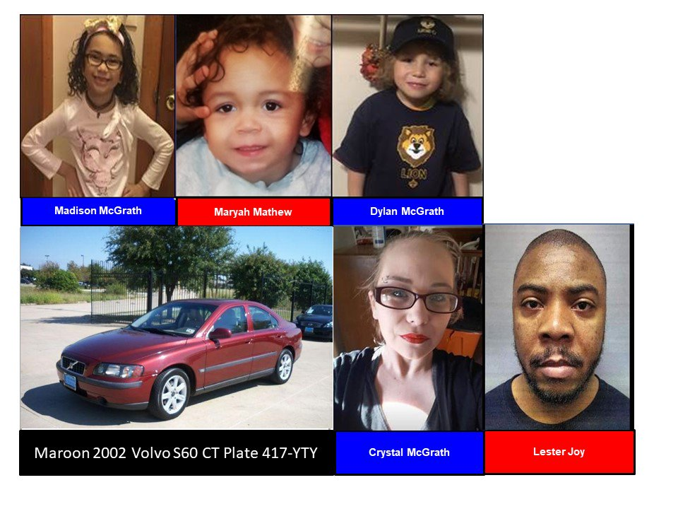 ACTIVE AMBER ALERT for Maddison McGrath, Dylan McGrath and Maryah Mathew from Waterbury, CT, on 02/16/19, CT plate 417-YTY