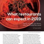 What can restaurants expect in 2019? A good deal of innovation and change as we know it. #Robots, #sour #flavors, #mealkits , polished #fastcasual #restaurants + more https://t.co/LlUFfPEmap