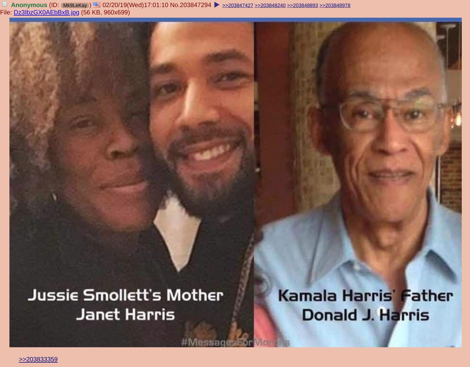"Ben Collins on Twitter: ""This ""Kamala Harris is Jussie Smollett's aunt"" conspiracy was fueled from a few 4chan posts from several days ago. One is just a baseless speculation on the same,"
