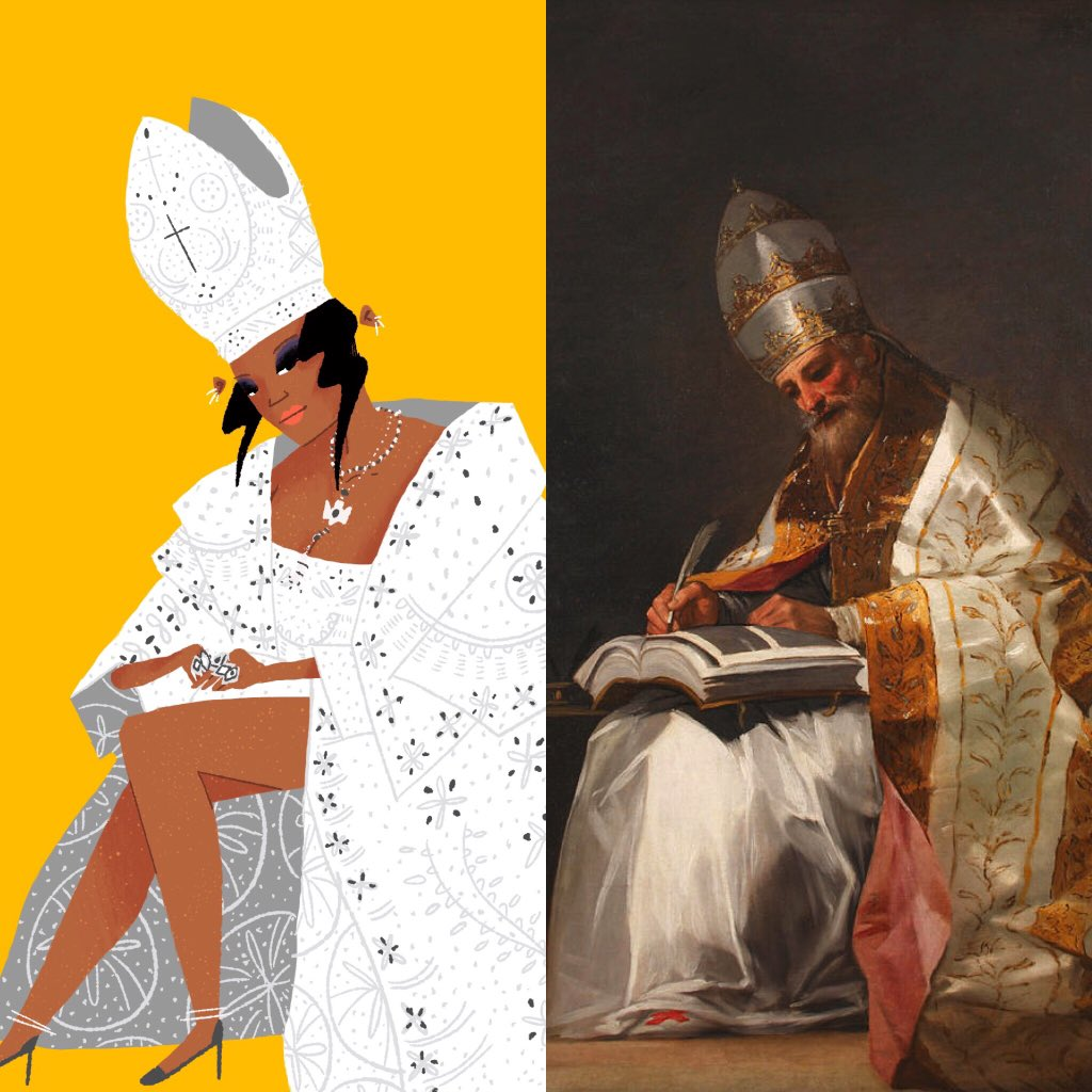 @galaxase Last year's #MetGala2018 #HeavenlyBodies was a gold mine for this!! Presenting Pope @rihanna illustrated as Saint Gregory the Great by Goya 🙏