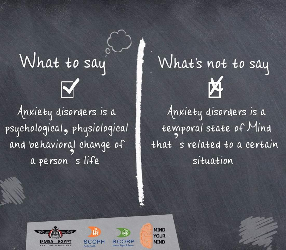 Anxiety Disorders; what to say and what&#39;s not to say?  #IFMSA_Egypt  #MindYourMind #SCOPH #SCORP<br>http://pic.twitter.com/loNMRxGCSR