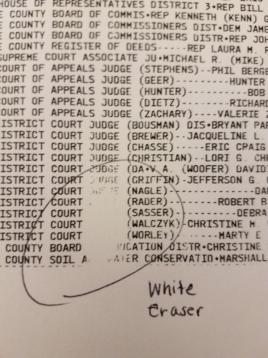 The ES&S ballot summary cards can easily be erased and will most likely fade over time. I directly asked an ES&S representative if this was thermal paper and if the ink could fade and was told no.  @jennycohn1 @philipbstark  @mikefarb1 @jpanzer @amyklobuchar @VotingVillageDC