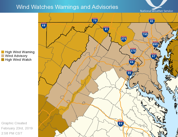 A High Wind Warning is in effect starting tomorrow morning for the higher elevations and western/north-central MD. A Wind Advisory has also been issued for portions of northern/central VA and central and southern MD tomorrow afternoon. #DCwx #MDwx #VAwx #WVwx<br>http://pic.twitter.com/lDP2nhGyIG