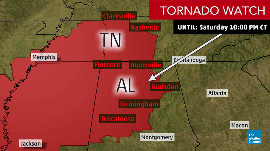 NEW: A #tornado watch has been issued for parts of Alabama and Middle Tennessee until 10 pm CST. #Tornadoes, wind gusts up to 70 mph and large hail are all possible.