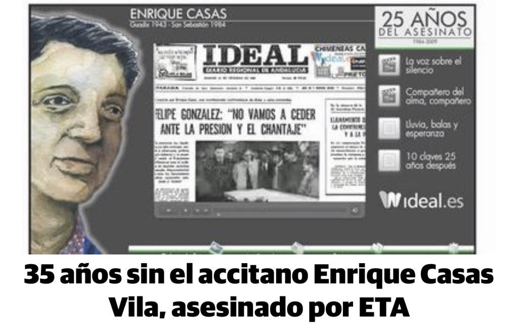 35 años del asesinato a manos de ETA del senador accitano Enrique Casas. Nunca te olvidaremos