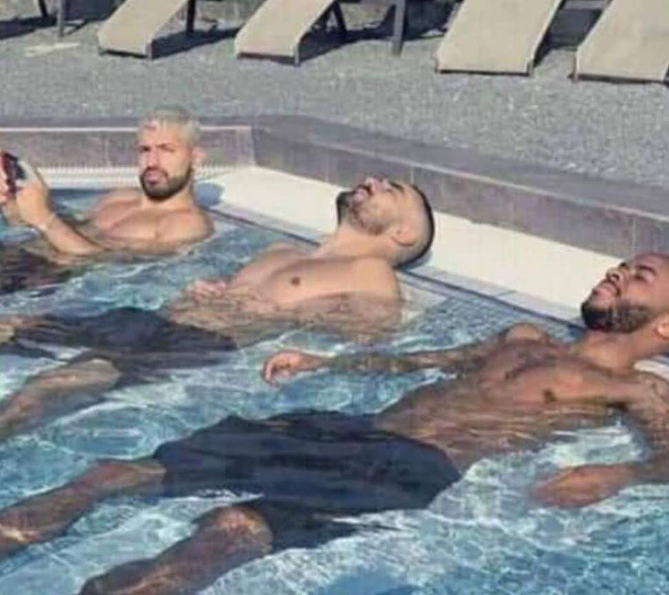 Man City players training hard ahead of their Cup final game vs Chelsea.