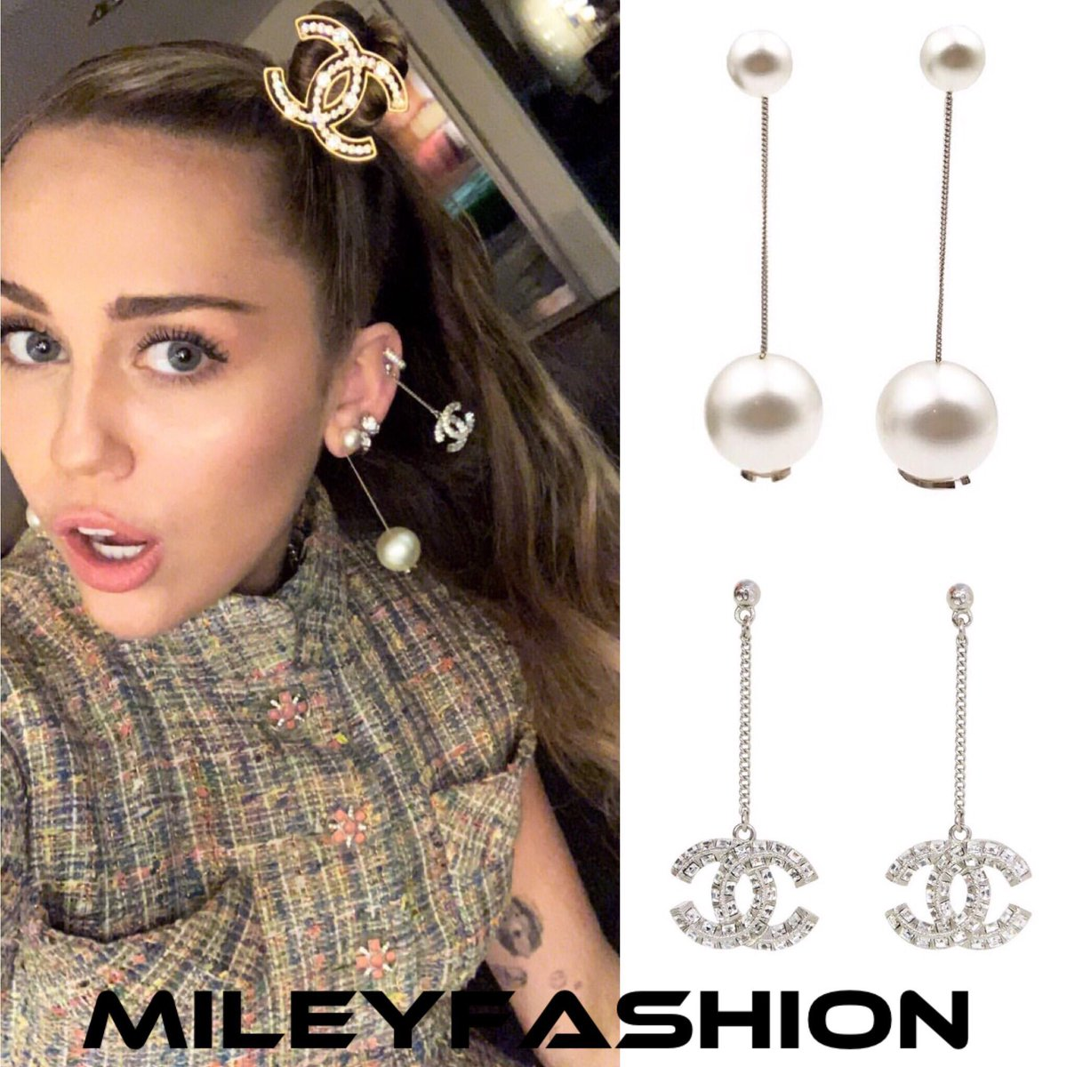 Miley Cyrus Fashion On Twitter Style Guide Mileycyrus Wore Chanel S Pave Crystal Cc Drop Pierced Earrings And Chanel S Gold Pearl Classic Gumball Faux Dangle Piercing Earrings In A Photo That She Posted
