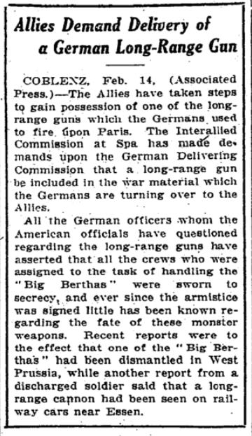 Feb 15, 1919 - New York Times: Allies demand Germans hand over long-range artillery guns #100yearsago