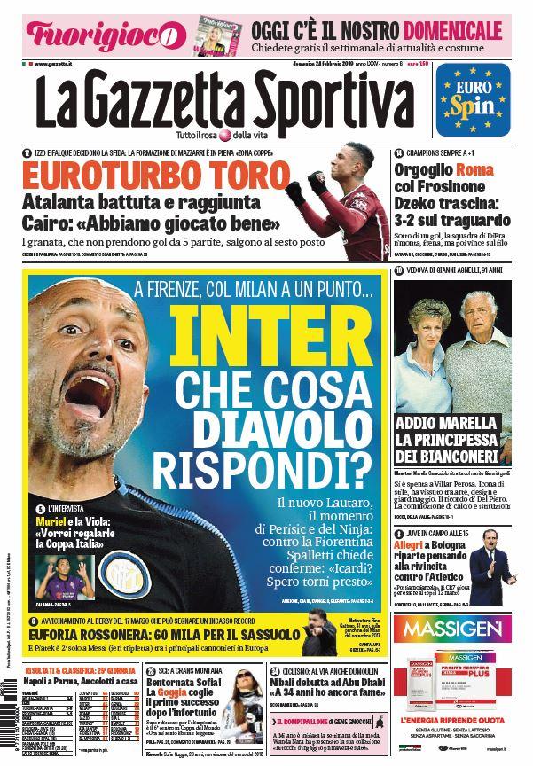La prima pagina della #Gazzetta e di #Fuorigioco in edicola oggi!  Inter che cosa diavolo rispondi?😈 Euroturbo Toro 🐃 Orgoglio Roma col Frosinone 💪