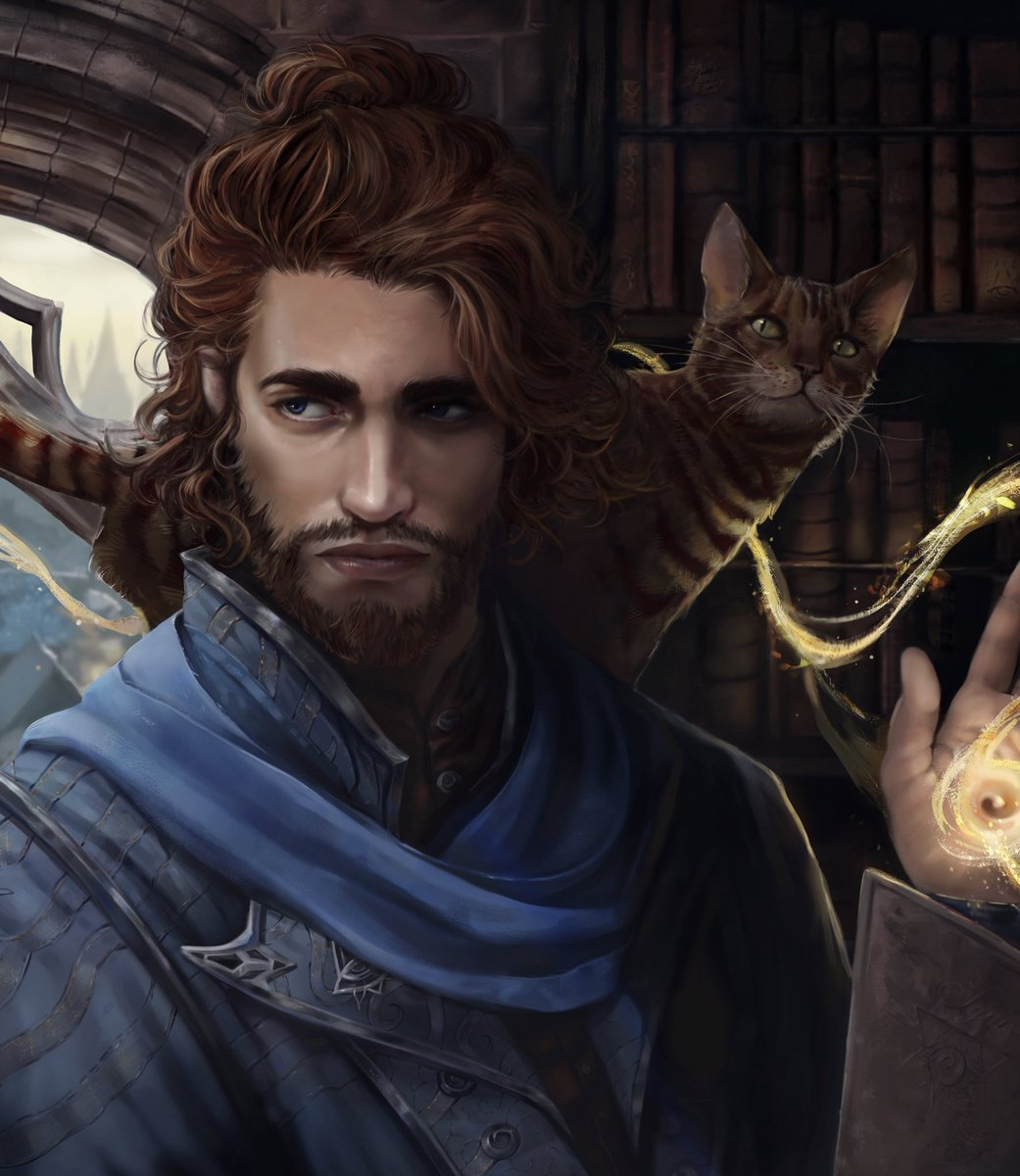 Soltryce Academy graduate AU Caleb Widogast for @FluffyLtd !! More than thrilled to paint best boy and Exandria's best cat . #CriticalRole #criticalrolefanart<br>http://pic.twitter.com/yR9HneEuqQ